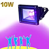 YQL Outdoor UV Black Light,10W Ultra Violet LED Flood Light,Blacklights for DJ Disco Night Clubs,UV Light Glow Bar,Blacklight Dance Party,Stage Lighting,glow in the dark party supp