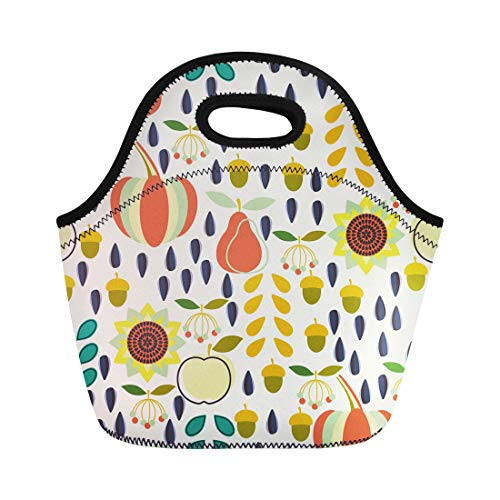 Semtomn Lunch Bags Floral Fall Harvest Season Pattern Depicting in the Autumn Neoprene Lunch Bag Lunchbox Tote Bag Portable Picnic Bag Cooler - Knife Acorn Fruit