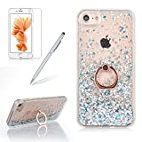 Bling Glitter Liquid Case For Iphone 6 6S PLUS, Girlyard Glitter Sparkle Quicksand Hard Case Flowing Liquid Floating Cover Bling Hourglass Design Shiny Protection Back Case with 360 Rotating Ring and Free Screen Protector, Silver