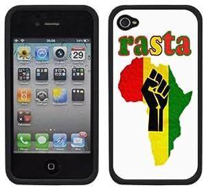 Rasta Africa Rastafarian Handmade iPhone 4 4S Black Hard Plastic Case