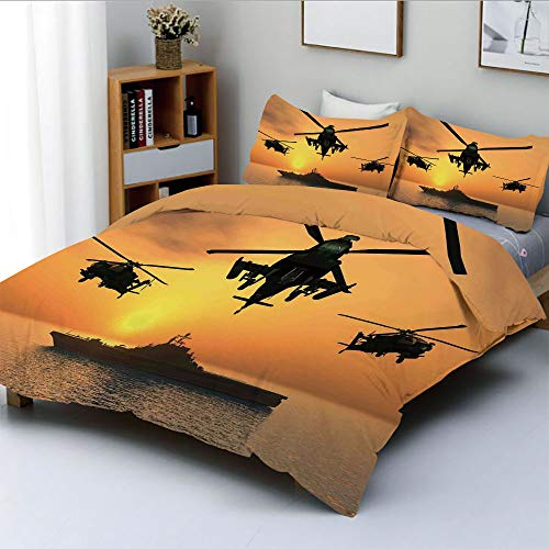 (Duplex Print Duvet Cover Set King Size,Battle Helicopter Over The Ocean Sea and Aircraft Carrier on Combat Art PhotoDecorative 3 Piece Bedding Set with 2 Pillow Sham,Orange,Best Gift for Kids & Adult)
