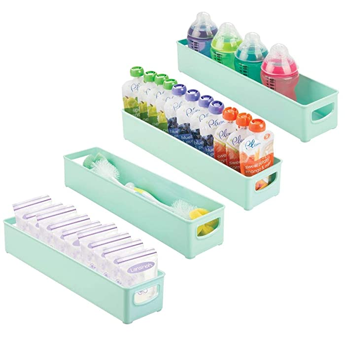 mDesign Storage Organizer Bin for Kitchen Cabinet, Pantry, Refrigerator, Countertop - BPA Free & Food Safe - Kids/Toddlers Bottles, Sippy Cups, Food Pouches, Baby Food Jars - 4 Pack - Mint Green