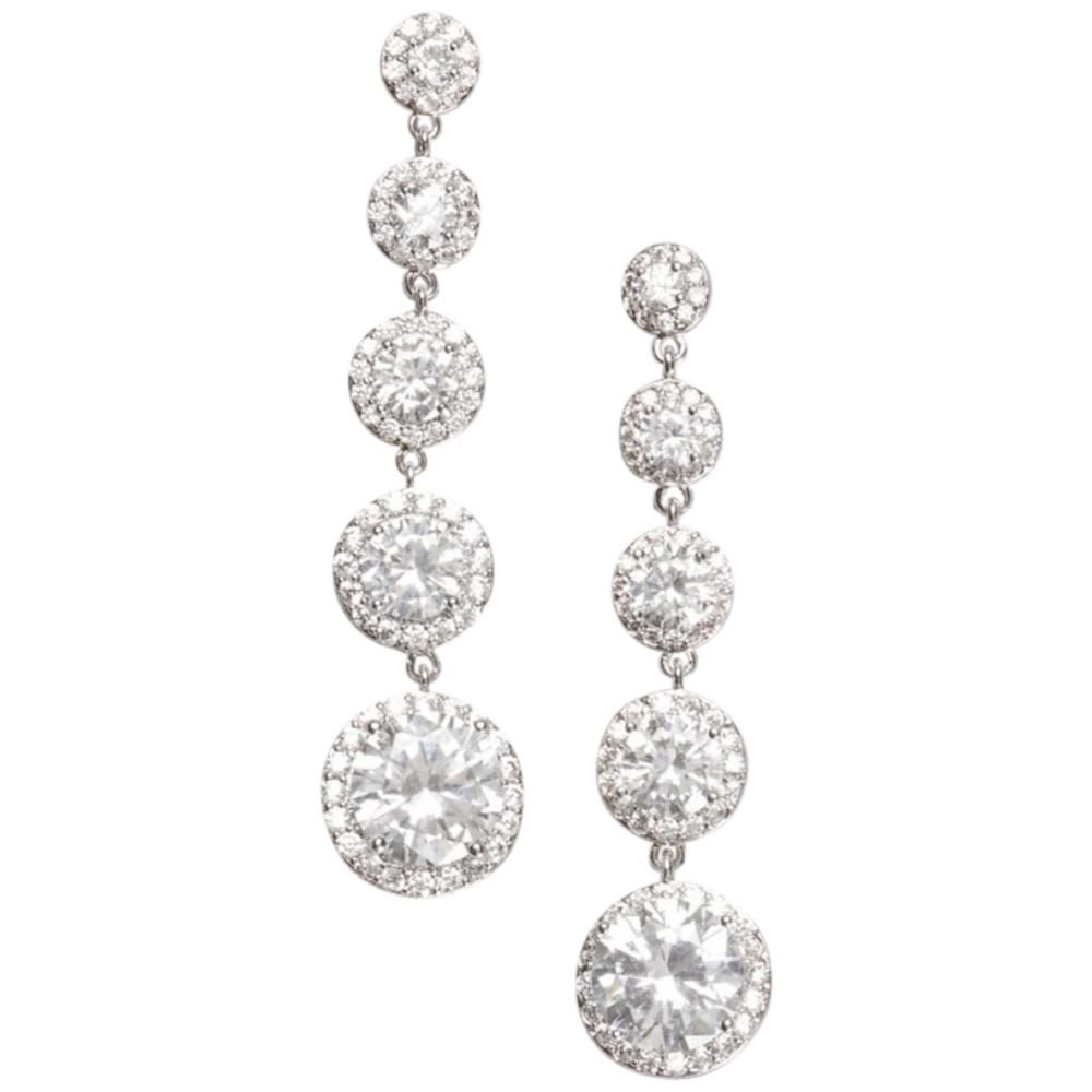 cb6a3b9a5 Amazon.com: Graduated Cubic Zirconia Solitaire Pave Drops Style 154523EP,  Silver: Jewelry