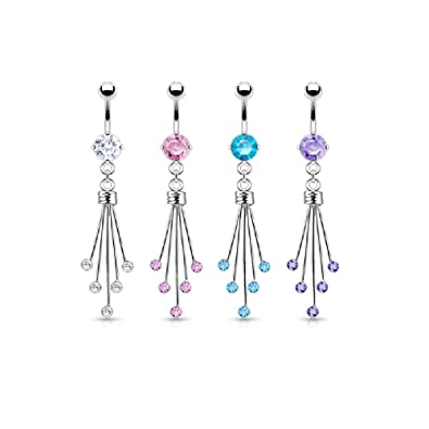 5 Round Cz Gem Spray Fancy Titanium Belly Button Ring Available In Multiple Colors
