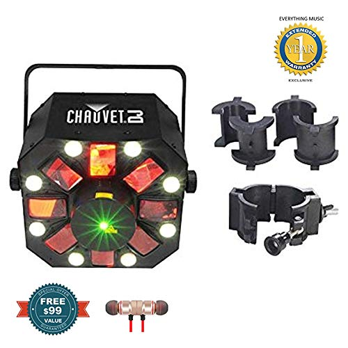 Chauvet DJ Swarm 5 FX LED Lighting Effects Fixture with CLP-10 Truss Clamp Bundle includes Free Wireless Earbuds - Stereo Bluetooth In-ear and 1 Year Everything Music Extended Warranty (Led Fx Pak)