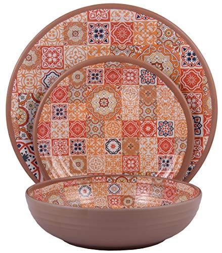 - Melange 12-Piece Melamine Dinnerware Set (Moroccan Tiles) | Shatter-Proof and Chip-Resistant Melamine Plates and Bowls | Red | Dinner Plate, Salad Plate & Soup Bowl (4 Each)