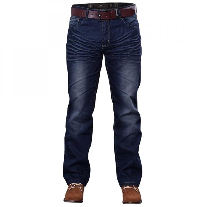 98aa2527315 Crosshatch Mens New Farrow Regular Straight Leg Denim Jeans With Belt   Amazon.co.uk  Clothing