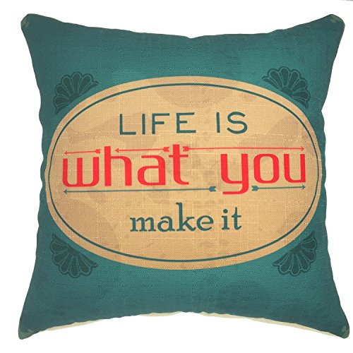 YOUR SMILE Inspiring Quote Cotton Linen Square Decorative Throw Pillow Case Cushion Cover 18x18 Inch Blackish-Green for $<!--$6.99-->