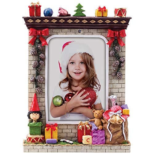 """Fine Photo Gifts 5"""" x 7"""" Light Up Christmas Winter Resin Picture Frame"""
