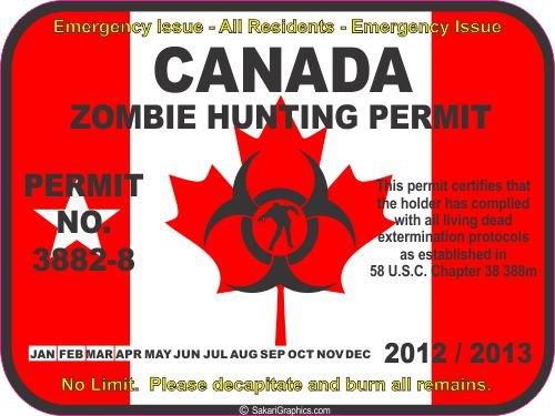 Canada zombie hunting permit decal bumper sticker