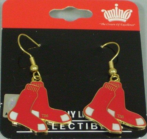 - MLB Dangling Earrings - Boston Red Sox Logo