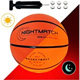 NIGHTMATCH Light Up Basketball INCL. Ball Pump Spare Batteries - Inside LED Lights up When Bounced - Glow in The Dark Basketball - Size 7 - Official Size & Weight - Night Basketball Sports