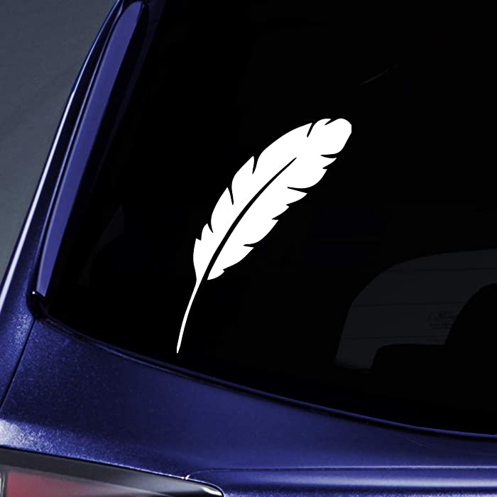 "Bargain Max Decals Feather Silhouette Sticker Decal Notebook Car Laptop 5.5"" (White)"