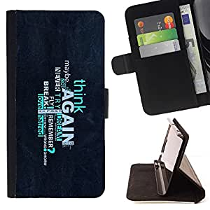 DEVIL CASE - FOR Samsung Galaxy S3 Mini I8190Samsung Galaxy S3 Mini I8190 - Think Again Deep Message - Style PU Leather Case Wallet Flip Stand Flap Closure Cover