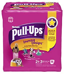 Pull-Ups Learning Design Training Pants, Size 2T-3T, Girl, 56 Count (Pack of 2)