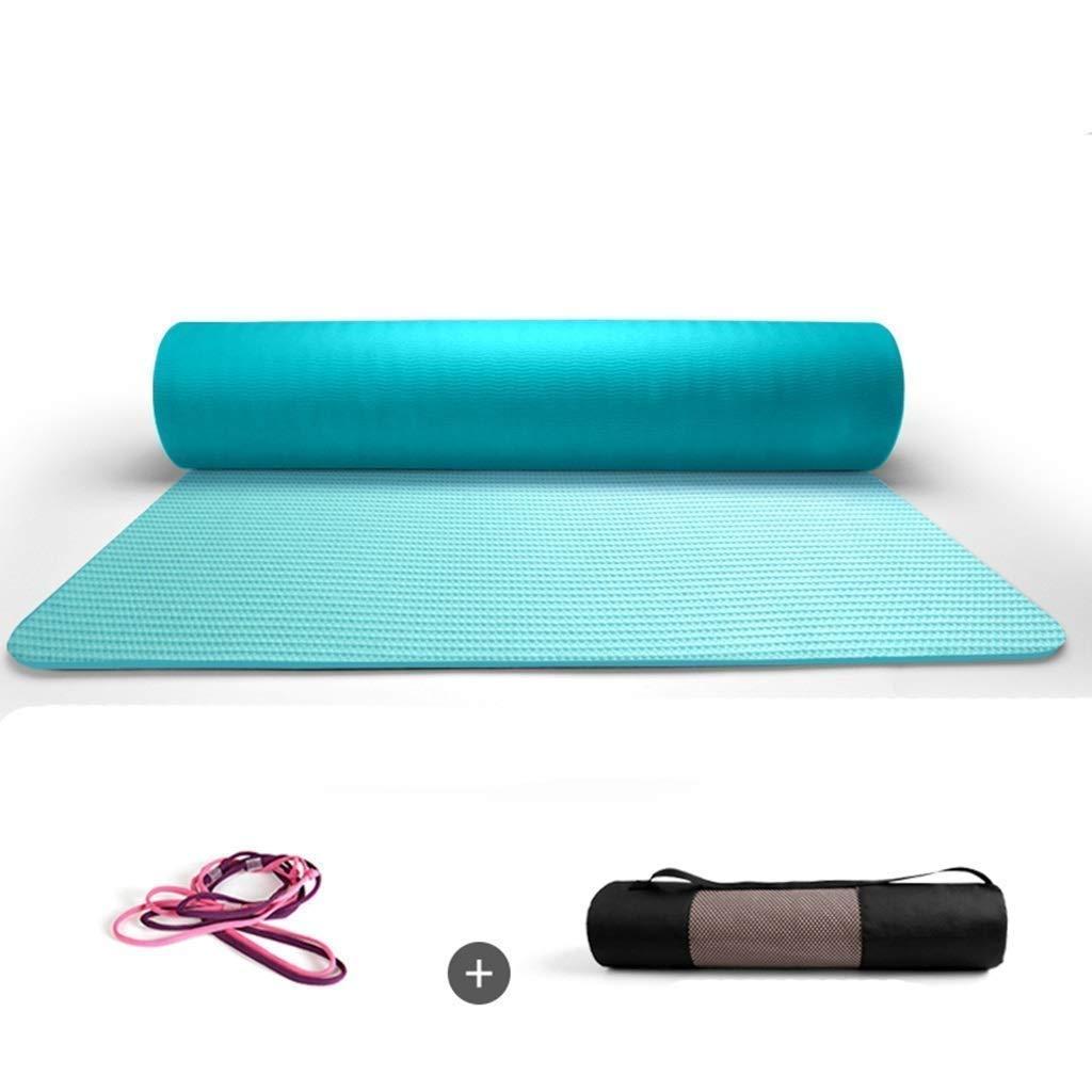 Bleu Tapis d'exercice Tapis de yoga non glissant Poignée Tapis de sport Gym à domicile Workout Pilates Tapis de yoga surdimensionné et léger avec dragonne et fourre-tout Taille multi-couleur en option