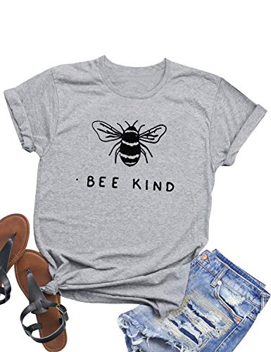 Hubery Women Cute Graphic Print BEE Kind Tee Tops Short Sleeve Funny Shirt Blouse Grey
