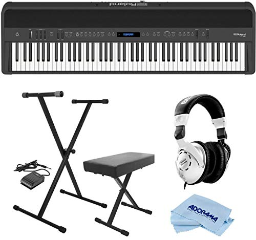 Roland Studio Recording - Roland FP-90 88 Keys SuperNATURAL Modeling Portable Digital Piano, Black - Bundle With On-Stage KPK6520 Keyboard Stand/Bench Pack with Sustain Pedal, Behringer HPS3000 HP Studio Headphones, Cloth