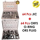 SCHMIDT HYDRAULIC 64 Pcs Lot JIC Hydraulic Adapter + 64 Pcs Lot ORFS O-RING ORS Plug & Cap Flat Face Hydraulic Fitting Seal Kit Set Brand New Best Value Pack