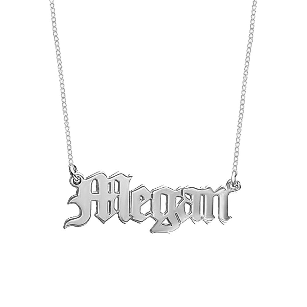925 Sterling Silver Personalized Name Necklace with Old English Style Custom Made with Any Names (925 Sterling Silver)
