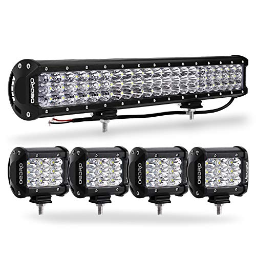 LED Light Bar Triple Rows OEDRO 20 Inch 300W LED Spot Flood Combo Work Light + 4Pcs 4Inch Tri-Row 27W LED Spot Pod Driving Fog Lights for Off Road Truck Car Boat SUV ATV UTV Pickup(No Wiring harness)