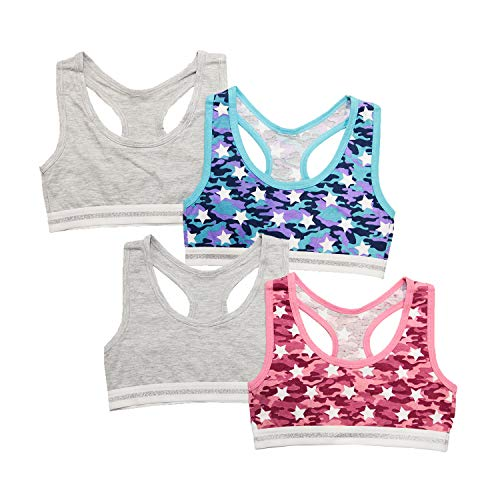 Layer 8 Kids Little Girls 4-Pack Comfy Cotton Racerback Sports Bras - Extra Large