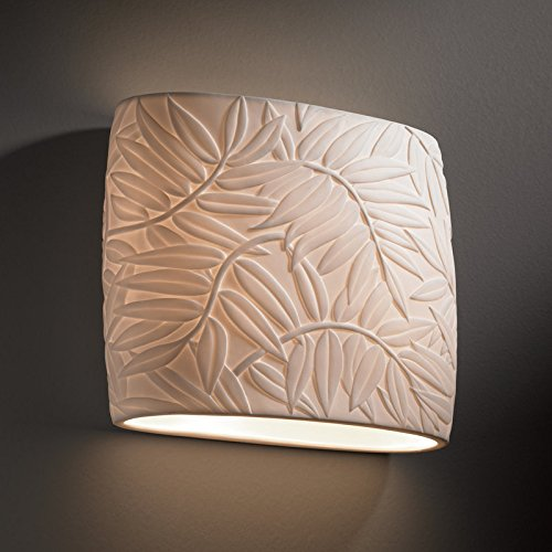 Justice Design Group Porcelina Collection 2-Light Oval Wall Sconce - Bamboo Faux Porcelain Resin Shade