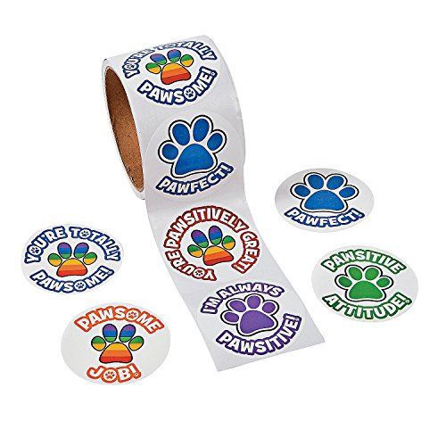Print Roll - Paw Print Stickers - 100 Stickers Per Roll, Shrink-wrapped - 2 1/4