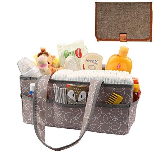 Baby Diaper Caddy Organizer [Large] with Diaper Changing Pad by SwingingBaby. Splash Proof Nursery Organizer/Storage Basket, Plus 100% Waterproof Changing Mat. Both Machine ()