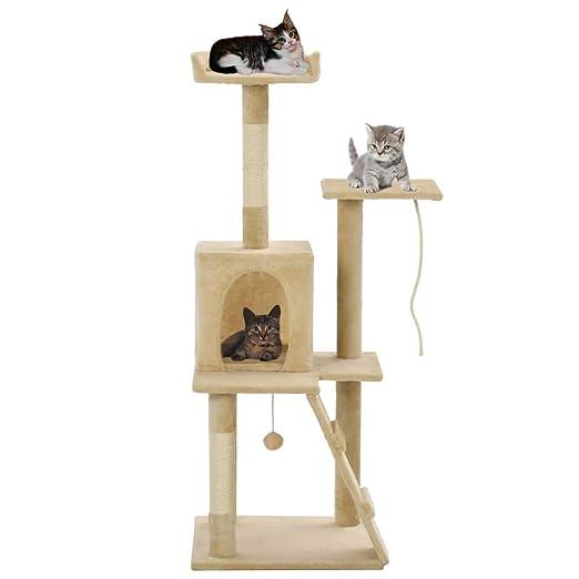 FESTNIGHT Árbol para Gatos Rascador con una Rampa, una Casa, una ...