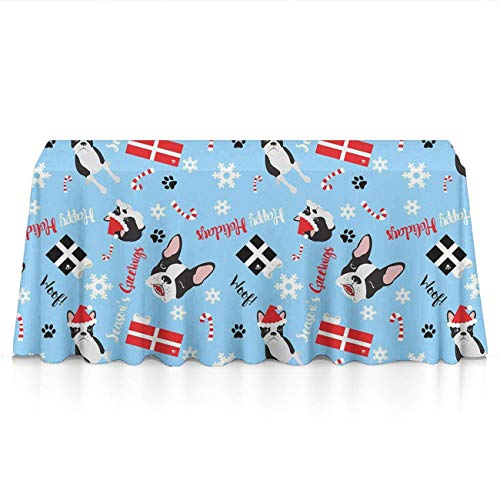 GOAEACH Stain Resistant Dust-Proof Rectangular/Square Table Cloths - Boston Terrier Christmas Table Decor, Square Or Round Tables Tablecloths for Wedding Catering Events, BBQ