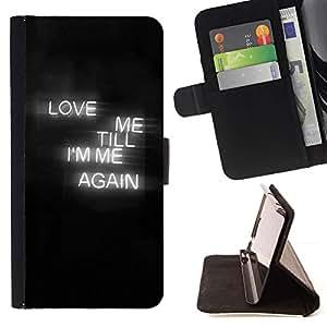 Momo Phone Case / Flip Funda de Cuero Case Cover - El amor muestra de neón Corazón Negro Niebla texto - Motorola Moto E ( 1st Generation )