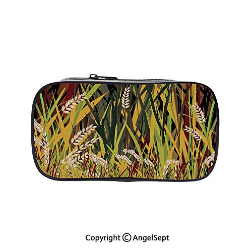 Cute Pencil Case - High Capacity,Reeds Dried Leaves Wheat River Wild Plant Forest Farm Country Life Art Print Image Multicolor 5.1inches,Multifunction Cosmetic Makeup Bag,Perfect Holder for Pencils A ()