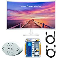 Samsung CF391 Series 32 LED Curved Monitor (LC32F391FWNXZA) with Xtreme 6 Outlet Wall Tap w/ 2 USB Ports White, Xtreme Performance TV/LCD Screen Cleaning Kit & 2x General Brand HDMI to HDMI Cable 6