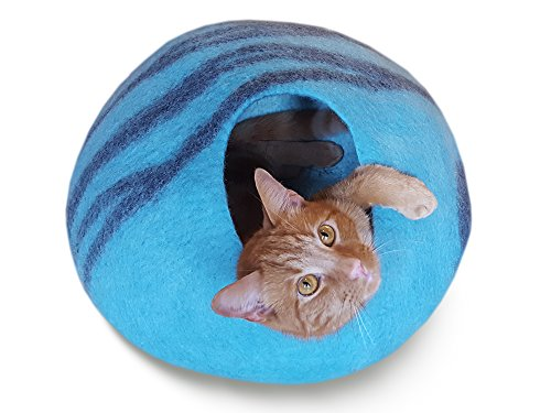 Meowfia Premium Felt Cat Cave (Large) - Eco-Friendly 100% Merino Wool Cat Bed - Handmade Indoor Cat House - Soft and Comfy Beds for Large Cats and Kittens - Aquamarine