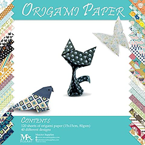 Origami Paper Set - 120 Sheets - Traditional Japanese Folding Papers including Floral, Animal Prints, (Aztec Pesce)