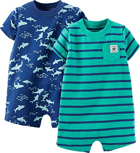 Carter's Baby Boys' 2 Pack Rompers (Baby) - Turquoise - 6 Months