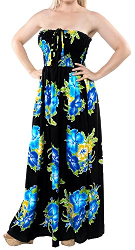 La Leela Likre Printed tropical wedding vacation festive length Full Skirt slit club cocktail flowy Blue