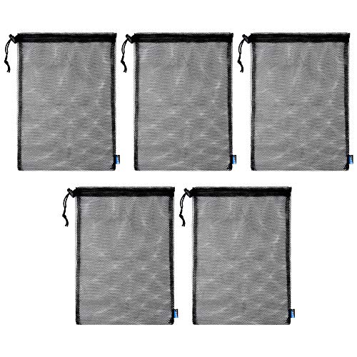 BCP 5pcs Nylon Mesh Storage Ditty Bag Stuff Sack for Travel & Outdoor Activity Mushroom Hunting, Foraging,15 x 10.75