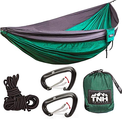TNH Outdoors #1 Premium Double Camping Hammock Premium Quality Hammock - Strongest 9ft Straps with 30 Multi Hitch Points - Larger 10x6.6ft Hammock