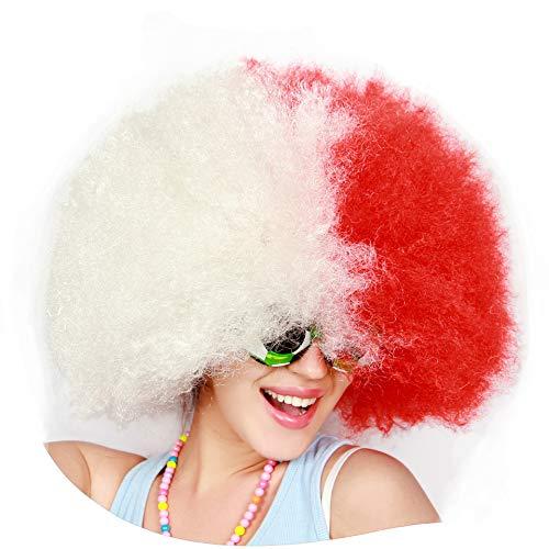 Kurop Unisex Afro Wig Black Wig Fancy Costume Funny Wig Party Costume (Half White Half Red)]()