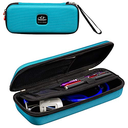 Prohapi Hard Stethoscope Case with ID Slot Compatible with 3M Littmann/ADC/Omron Stethoscope Includes Mesh Pocket for Nurse Accessories (Turquoise)