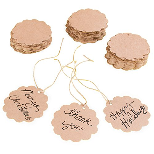 Jar Tags - Brown Craft Scalloped Paper Label Tags with Jute Twines String for Birthday Party, Wedding Decoration Gifts, Organizing, Arts & Crafts (100 Pack)