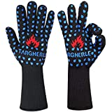 Targher BBQ Gloves Grilling Cooking Gloves 932°F Extreme Heat Resistant No-Slip Grip, Safe Cut Resistant and Forearm Protection Oven Gloves-Grill & Kitchen Accessories (1 Pair) - for Gril