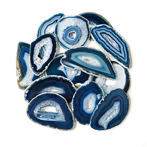 12 Geode Center Blue Agate Slices 2.5 inch - 3.5 inch Geode Slabs with Genuine Quartz Crystal Druzy Centers