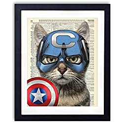 Captain Cat America Super Hero Vintage Upcycled Dictionary Art Print - 8x10 inches