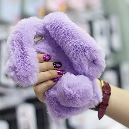 Cute Bunny Warm Winter Fur TPU Case for Samsung Galaxy S8, Aearl Plush Rabbit Ears Furry Pompon Faux Fur Bling Crystal Rhinestone Fluffy Hair Cover with Screen Protector for Samsung Galaxy S8 - Purple