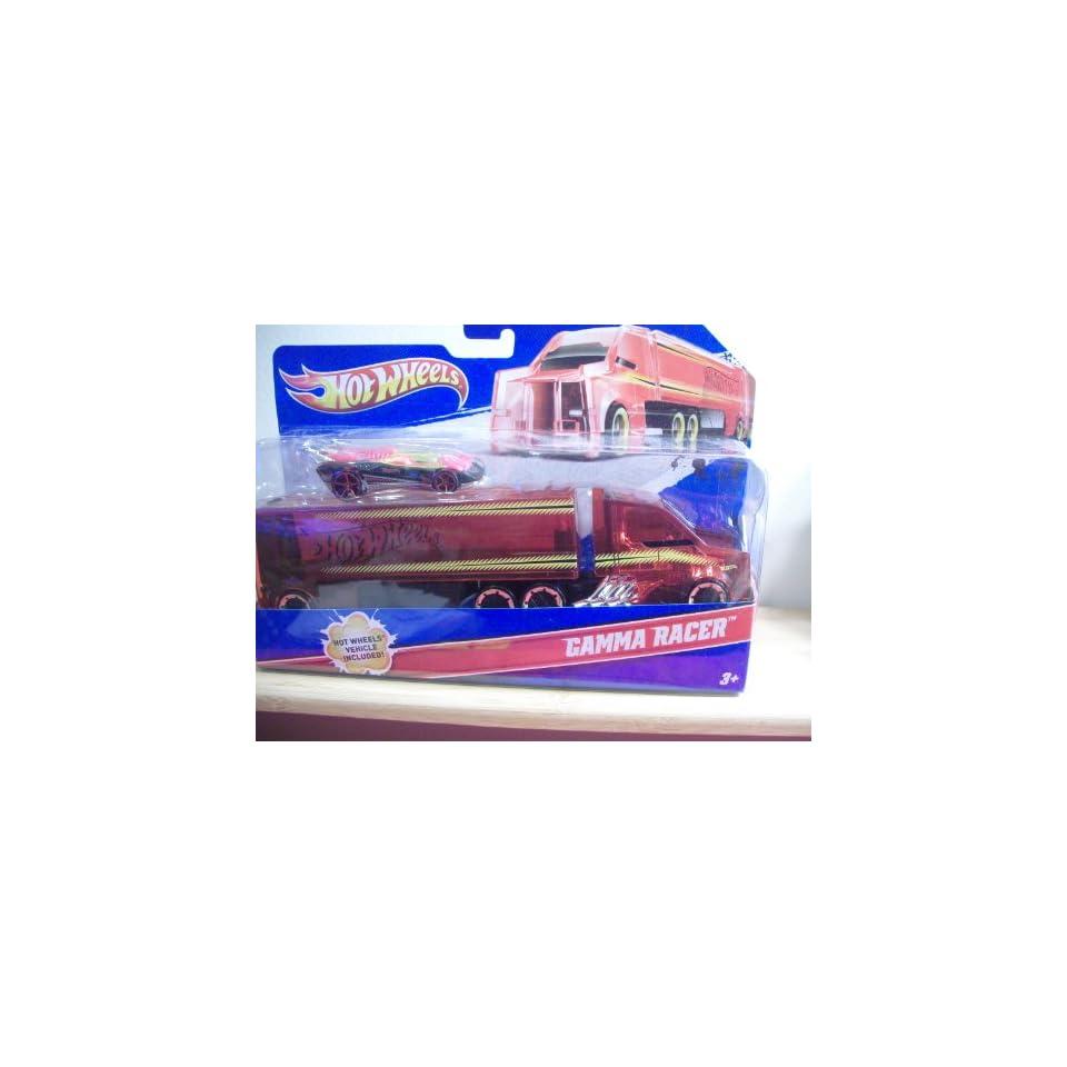 2011 Hot Wheels Semi Truck w/Trailer and Gamma Racer Car (Toy)