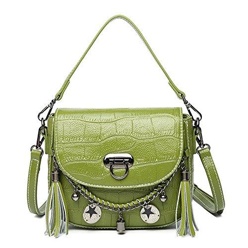 Nero Verde Pelle In Con Fangyou1314 colore Tempo Libero Le Borsa Per Donne Il Frangia Z1FxRa