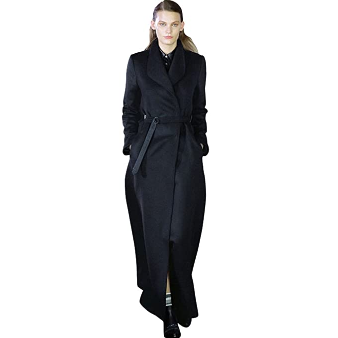 check out b42ba 7e1af YuanDian Donna Lungo Retro Con Cintura Risvolto Cappotto Colori Solidi  Cappotti Trench